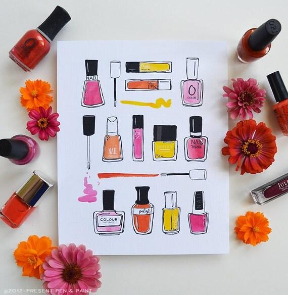 Nail Polish, Nail Art, Watercolor, Colorful, I love nail polish, Mani, Manicure, Bathroom decor, Wall Art, Teen girl, Teenagers room, ART