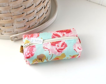 Small Boxy Pouch Pink and Aqua Coin Purse Floral Change Purse Credit Card Holder