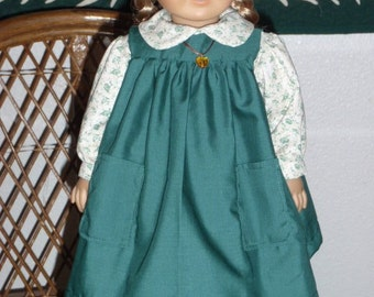 1800s 2 Pc Little House Prairie Pioneer Outfit - Dress and Pinafore for American Girl Kirsten 18 inch doll