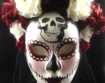Limited Edition Dama Cráneo Mask, Day of the Dead/Dia de los Muertos Mask with Red and Ivory silk roses and black trailing lace