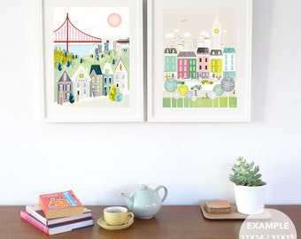 City Wall Art for Home, Cities Skyline Prints, Choose ANY 2 images in my shop LARGER (11x14 /11x15 /15x19) New York, Chicago, London, Paris