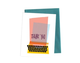 Typewriter Thank You Note,  Greeting Card, Single Mid-Century Modern/ Vintage Thank You Note with Handwritten Typography