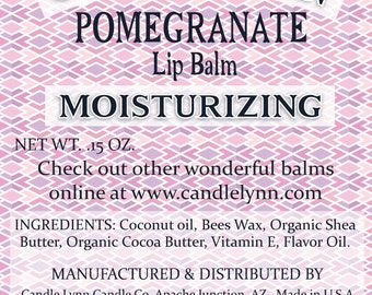 POMEGRANATE Lip Balm by Candle Lynn - Made with Organic Shea and Cocoa Butters