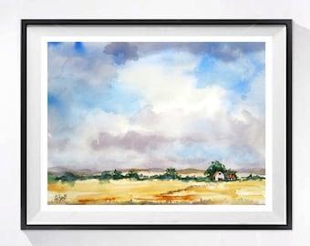 Landscape Fine Art Print Watercolor Painting wildlife prairie big sky Farmland  blue beige painting wall art Cloud painting