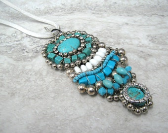 Long Turquoise Pendant with Turquoise & White Semi Precious Stones and Rhinestones-Unique Wired Pendant Necklace Sharona Nissan 4056s (sale)