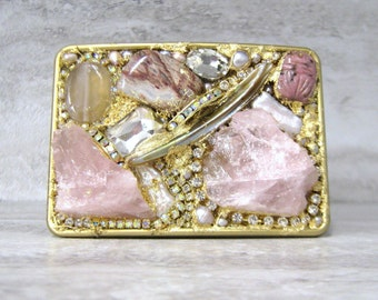 Pink & Gold Buckle-Gilded Romantic Woman's Belt Buckle with Rose Quartz and Rhinestones Fashion Color Trend by Sharona Nissan