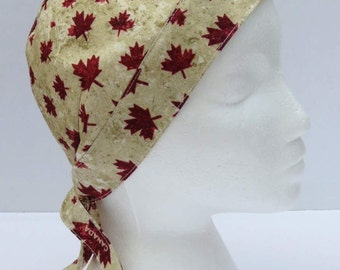 Bikers Skull Cap, Bandana, Do Rag, Canada Maple Leaf Leaves, Red Beige