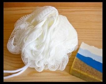 Nylon Bath Pouf • Large White Mesh Bath Shower Puff • Puff makes lots of Bubbles • Men, Women, Teens, Kids • Soap Accessory Gift Basket