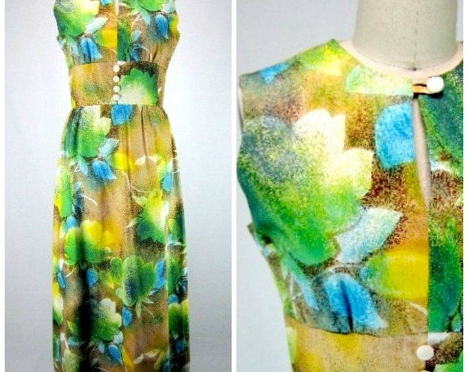 1960s Maxi Dress / Floral Mod Dress / Vintage Hostess Maxi Dress / Graphic Floral Summer Dress / Mod Big Blossom Floral Print / Sleeveless