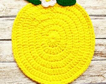 Bright Yellow Lemon Fruit Pot Holder Hot Pad COTTON Potholder Crochet Handmade Kitchen Kitchenwares Decor