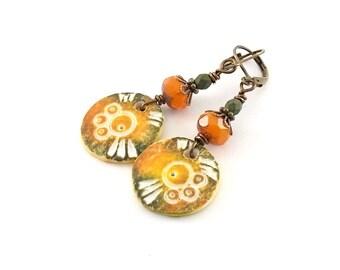 Green Orange Earrings - Polymer Clay - Lightweight Earrings - Round Earrings - Brass - Boho Earrings - Tribal Earrings -Lightweight - AE024