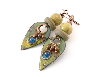 Green and Copper Enamel Earrings - Tribal Earrings - Artisan Earrings - Industrial Earrings - Boho Earrings - Copper Earrings - AE099
