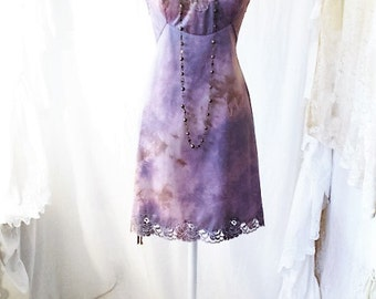 Med/Large Upcycled Dress/Tie Dye Dress/Slip Dress/Dress/ Upcycled Dress Tie Dye/Brown and purple/Upcycled Baydoll/Wearale Art/Quirky Large