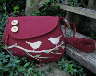 Singing Birds on a Branch /Handbag/ Tote /Purse /Messenger/ Shoulder Bag/school bag