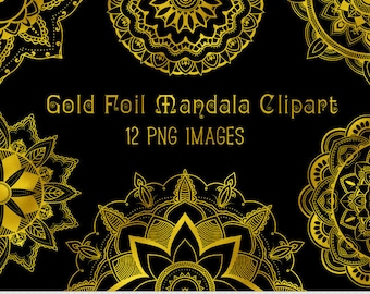 Gold Mandala Clipart Vector Mandala Clip Art Henna Tattoo Lotus Flower Clipart Digital Mandala Scrapbooking Tribal Oriental