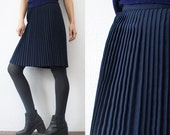 60s 70s pleated skirt. wool blend navy skirt - xs, small