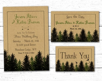 Woodland Wedding Invitation, Forest Wedding invitation, Rustic Wedding Invitation, Woodsy Wedding Invitation, Forest Wedding, Wedding Set