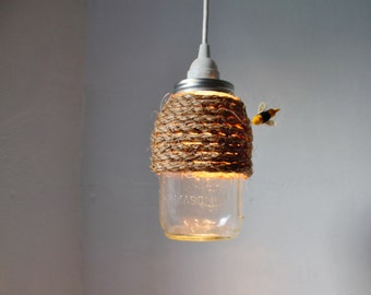 The HIVE Mason Jar Pendant Lamp, Hanging Lighting Fixture With A Rope Wrapped Quart Jar, Rustic Handcrafted BootsNGus Lights & Home Decor