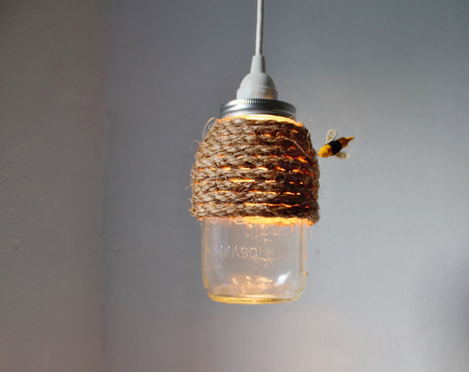 The Hive Mason Jar Pendant Lamp Hanging Lighting Fixture With