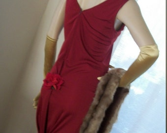 1920s 1930s Style Flapper Gown Slinky Deep Red Rear Rose Bustle Detail Orig Design Size M Morticia Addams