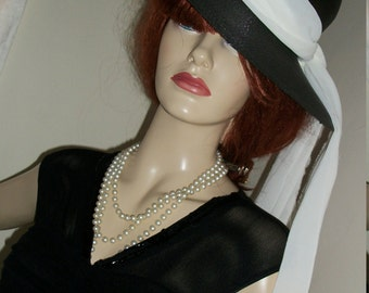 1950s Style Audrey Hepburn Black Straw Hat White Chiffon Long Scarf Orig Design One of a Kind One Size