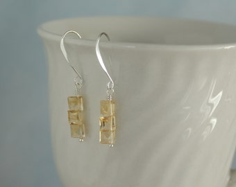 Faceted square citrine briolettes dangle earrings E0014SS