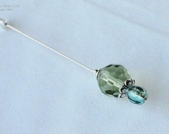Green and Blue Stick Pin, Czech Glass, Sea Theme, Stick Pin, Hat Pin, Lapel Pin, Hijab Pin, H0352