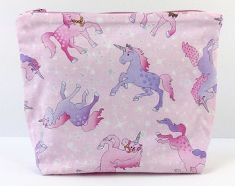 POUCH- Whimsical Unicorns **handmade**
