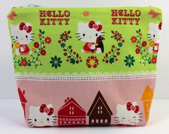 POUCH - Hello Kitty Flowers and Nesting Dolls**handmade**