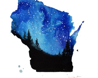 Wisconsin's Winter, print from original watercolor painting by Jessica Durrant