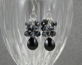 Earrings  Cluster Snowflake Obsidian and Vintage Glass Teardrop.