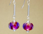 Fuchsia and ruby earrings sterling silver drops with lampwork glass boro beads by paulbead, hot pink earrings with purple and silver dangles