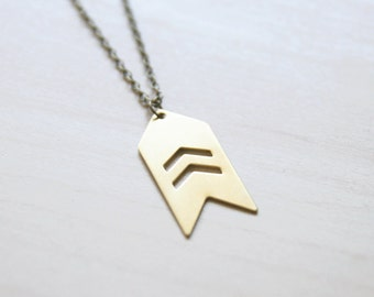 Chevron Golden Brass Military Style Necklace << Geometric Necklace >> Bridesmaid Gifts << Bridal Jewelry >> Boho Necklace