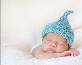Valentine KNIT Kiss HAT for BABY, Aqua Blue White Acrylic Yarn, Photography Prop