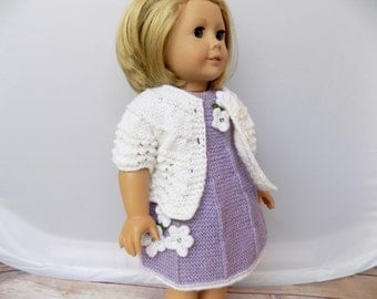 Purple Doll Dress, 18 Inch Doll Dress and Cardigan, Doll Clothes