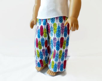 Doll Pajamas, 18 Inch Doll Pajama Pants, Feather Print