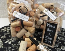 Alternative Guest Book - Sign a Wine Cork Kit for up to 100 Guests - Rustic, Winery Weddings, incl Sign, Marker & 100 Blank Corks