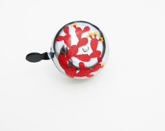 Red Prickly Pear Bike Bell / Handpainted Bicycle accessory