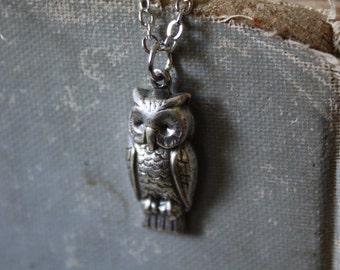 Owl Necklace - Owl Spirit Animal - Silver Owl Necklace - Halloween Necklace