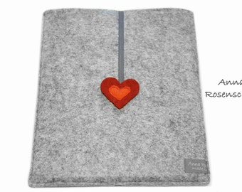for iPad case kindle paperwhite case felt gray heart rubber band