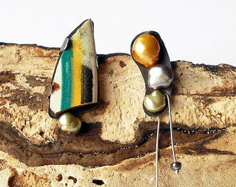 Desert Lady, pottery, pearls and tin asymmetric assemblage earrings