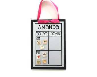 AM/PM Chore Chart + 12 Magnets   - 9 x 13 magnetic, personalized chore board