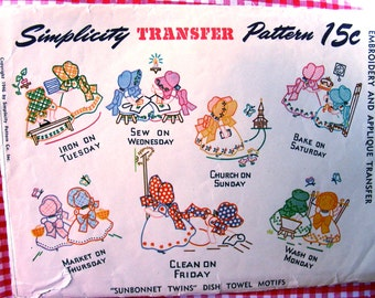 """1940's  Simplicity Hot Iron Embroidery Transfer Pattern 7254 - Uncut * ADORABLE Days of the Week """"Sunbonnet Twins"""" Dish Towel Motifs"""