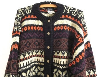 Vintage Pepe sweater Cardigan sweater Women button down sweater Women's size large Woman size L Bright and bold colors Winter sweater