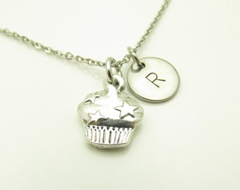 Cupcake Necklace, Cupcake Charm Necklace, Initial Necklace, Personalized Stamped Initial Letter, Food Charm, Silver Cupcake, Monogram Y223