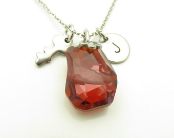 Swarovski Necklace, Swarovski Divine Rock Pendant Necklace, Red Magma, Personalized Initial Necklace, Key Necklace, Stainless Steel Y310