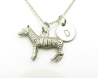 Zebra Necklace, Personalized, Monogram, Initial Necklace, Animal Themed Jewelry, Antique Silver, Zebra Pendant Necklace Y374