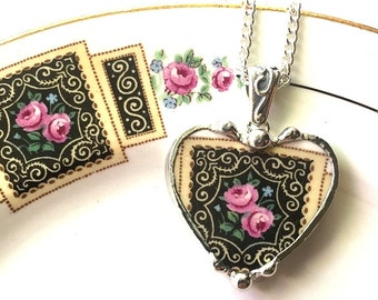 Recycled Broken china jewelry beautiful heart pendant necklace antique art deco pink roses on black