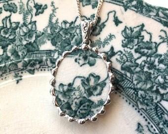 Broken china jewelry pendant necklace antique teal iris English blue green transferware oval pendant