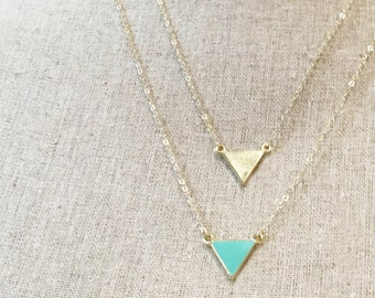 Reversible Gold Triangle Necklace Turquoise Triangle